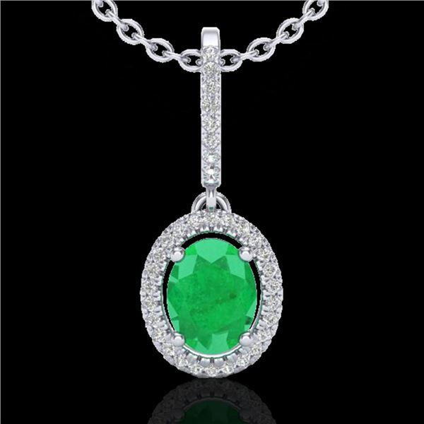 2 ctw Emerald & Micro Pave VS/SI Diamond Necklace Halo 18k White Gold - REF-49N3F