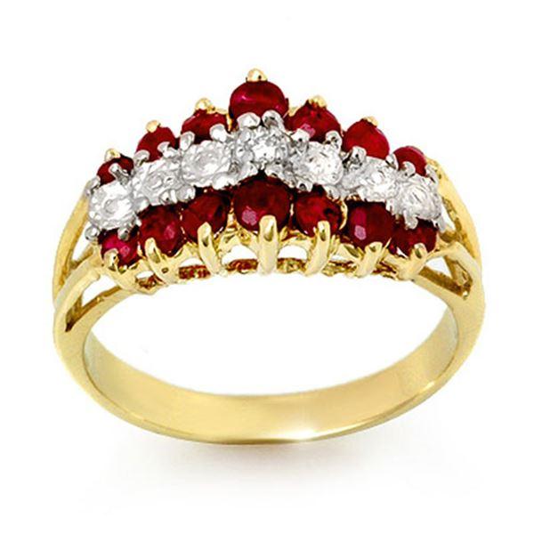 1.06 ctw Ruby & Diamond Ring 10k Yellow Gold - REF-23Y2X