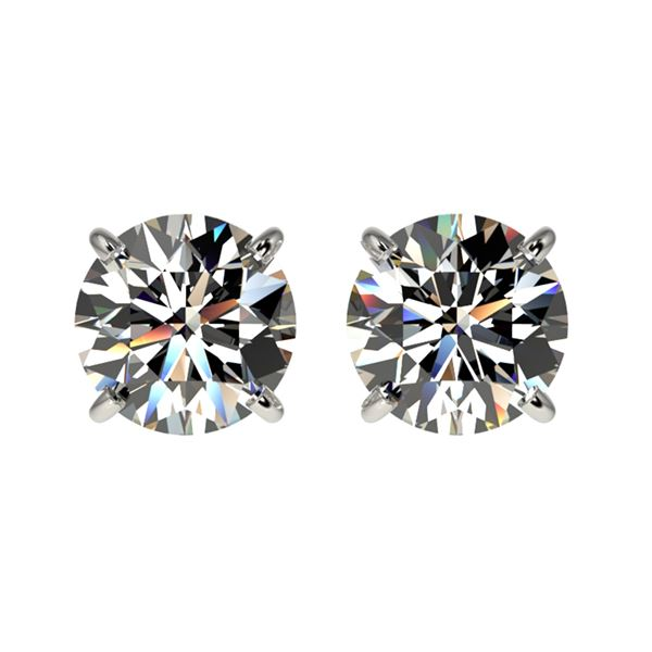 1.59 ctw Certified Quality Diamond Stud Earrings 10k White Gold - REF-127G5W