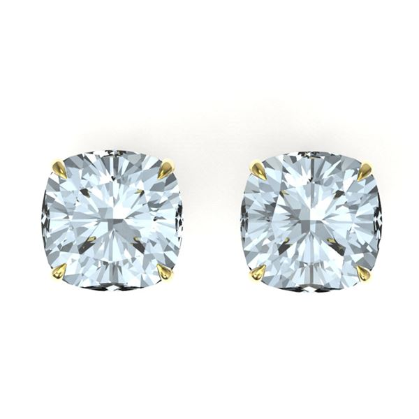 12 ctw Cushion Cut Sky Blue Topaz Stud Earrings 18k Yellow Gold - REF-37H8R