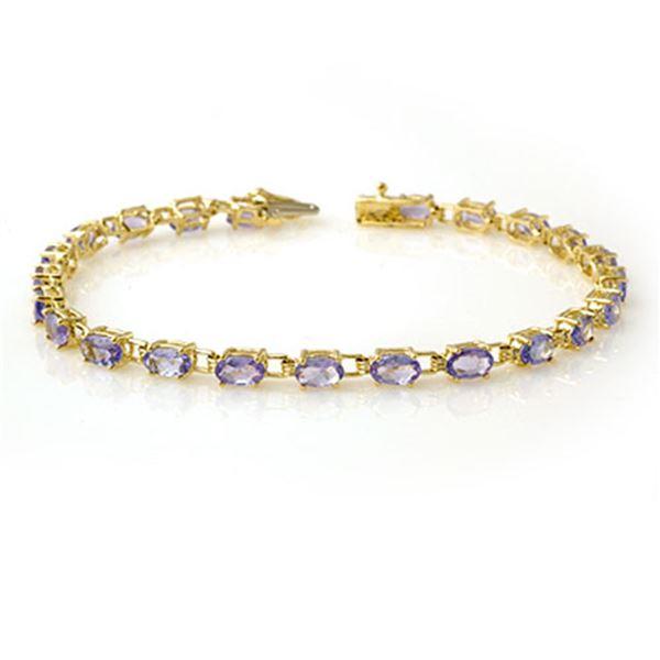 5.0 ctw Tanzanite Bracelet 10k Yellow Gold - REF-53M5G