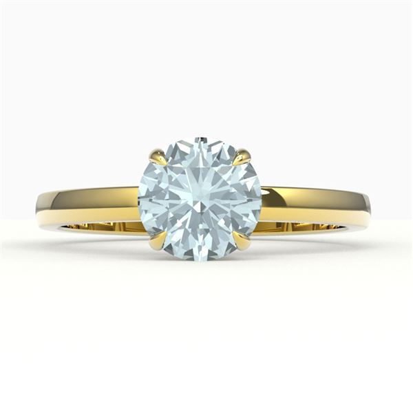 2 ctw Sky Blue Topaz Designer Solitaire Engagment Ring 18k Yellow Gold - REF-23G9W