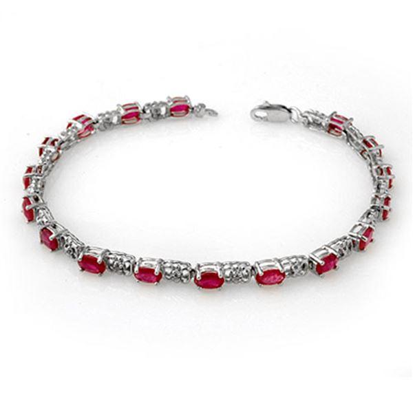 7.12 ctw Ruby & Diamond Bracelet 14k White Gold - REF-80N9F