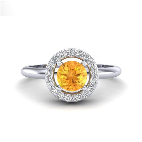 0.75 ctw Citrine & Micro VS/SI Diamond Certified Ring 18k White Gold - REF-33R3K