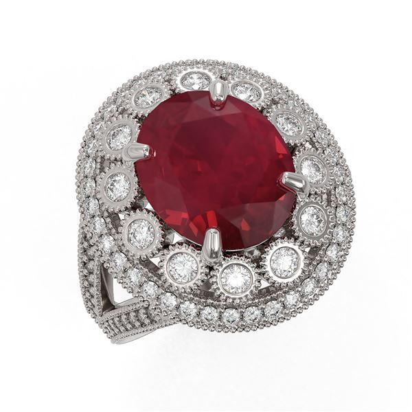 8.76 ctw Certified Ruby & Diamond Victorian Ring 14K White Gold - REF-207A3N