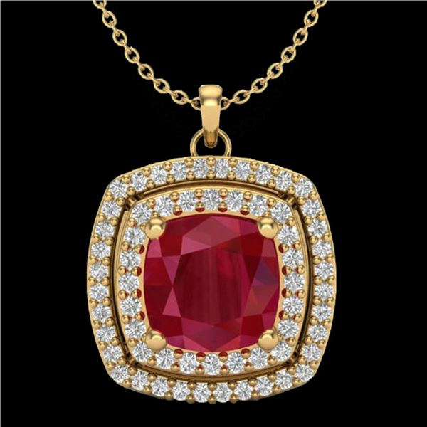 2.52 ctw Ruby & Micro Pave VS/SI Diamond Necklace 18k Yellow Gold - REF-55M2G