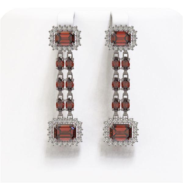 10.62 ctw Garnet & Diamond Earrings 14K White Gold - REF-190Y2X