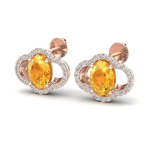 3.50 ctw Citrine & Micro Pave VS/SI Diamond Earrings 10k Rose Gold - REF-45G3W