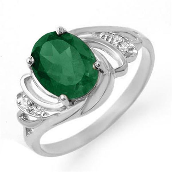 2.14 ctw Emerald & Diamond Ring 18k White Gold - REF-33K3Y