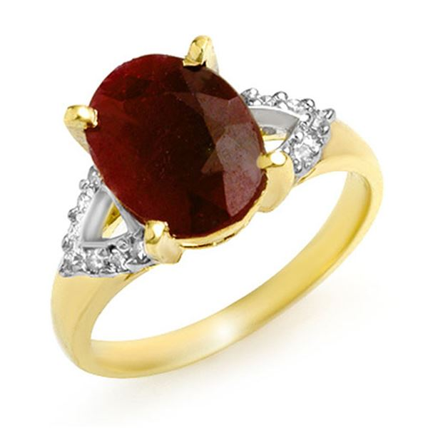 5.55 ctw Ruby & Diamond Ring 10k Yellow Gold - REF-53R5K