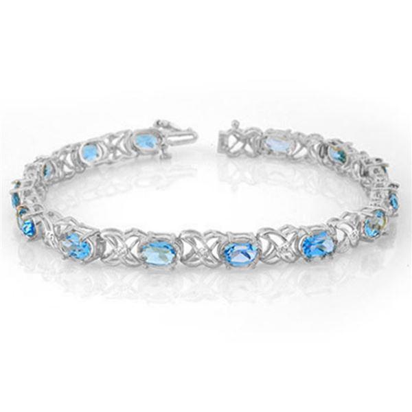 13.55 ctw Blue Topaz & Diamond Bracelet 14k White Gold - REF-85N5F