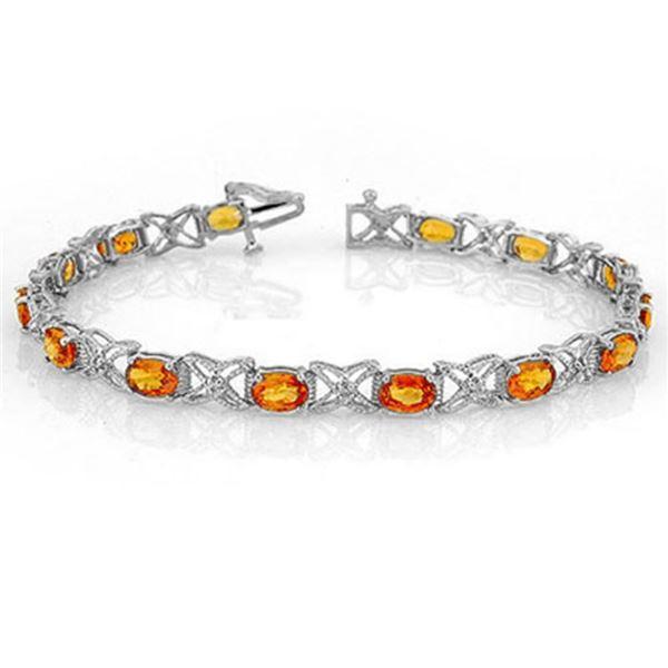 10.15 ctw Orange Sapphire & Diamond Bracelet 18k White Gold - REF-152R8K