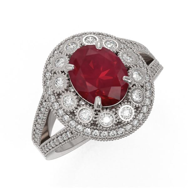 4.55 ctw Certified Ruby & Diamond Victorian Ring 14K White Gold - REF-143Y6X