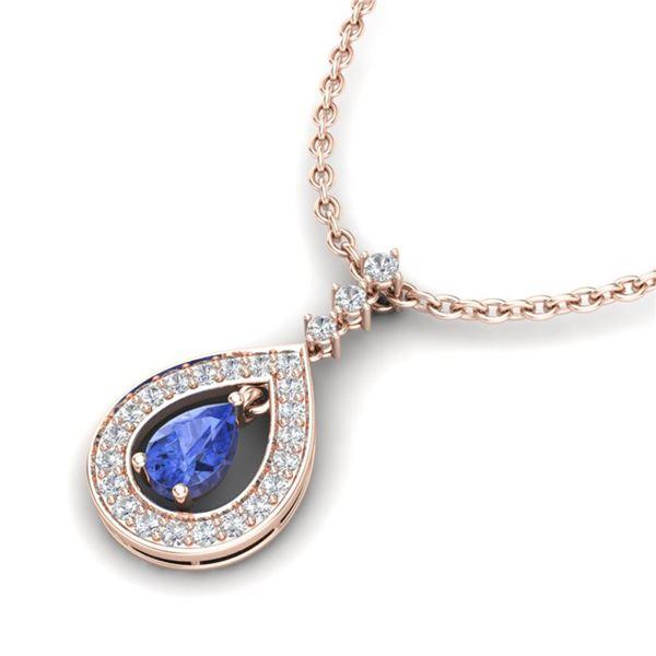 1.15 ctw Tanzanite & Micro Pave VS/SI Diamond Necklace 14k Rose Gold - REF-49W3H