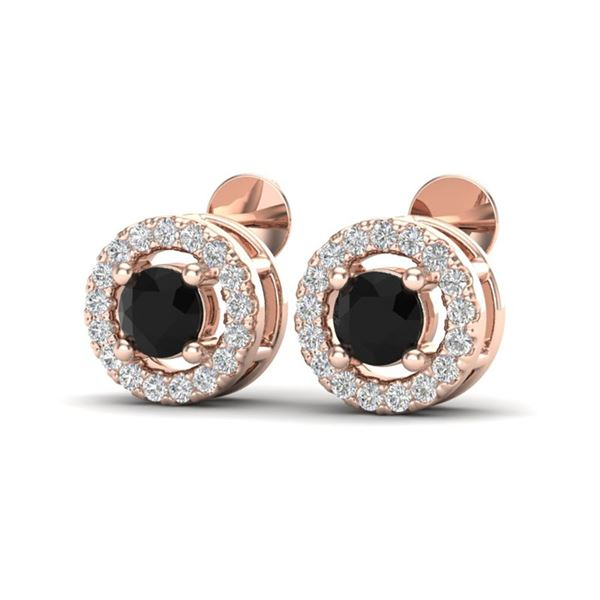 0.75 ctw Micro Pave VS/SI Diamond Certified Earrings Halo 14k Rose Gold - REF-40W9H