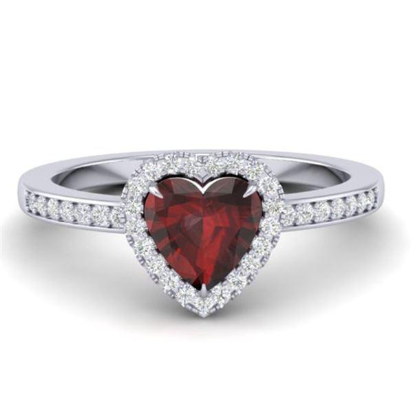 1.20 ctw Garnet & Micro VS/SI Diamond Ring Heart 14k White Gold - REF-26K3Y