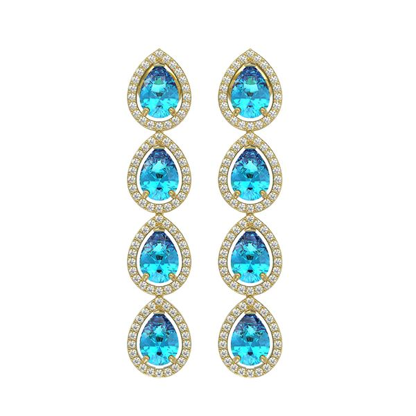 7.81 ctw Swiss Topaz & Diamond Micro Pave Halo Earrings 10k Yellow Gold - REF-152G8W