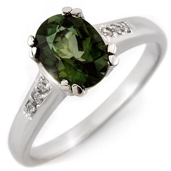 1.60 ctw Green Tourmaline & Diamond Ring 10k White Gold - REF-27R3K