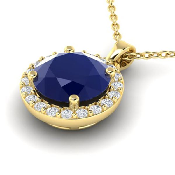 2 ctw Sapphire & Halo VS/SI Diamond Micro Pave Necklace 18k Yellow Gold - REF-33A2N