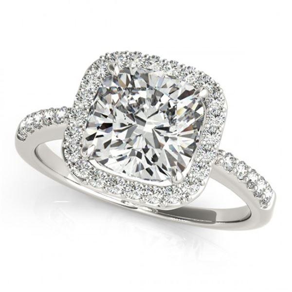 0.6 ctw Certified VS/SI Cushion Diamond Halo Ring 14k White Gold - REF-54N3F