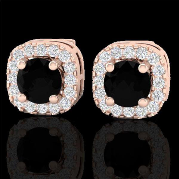 0.90 ctw Micro Pave Black & VS/SI Diamond Earrings 14k Rose Gold - REF-40A9N