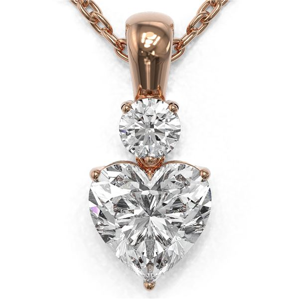 0.9 ctw Heart Diamond Designer Necklace 18K Rose Gold - REF-191M8G