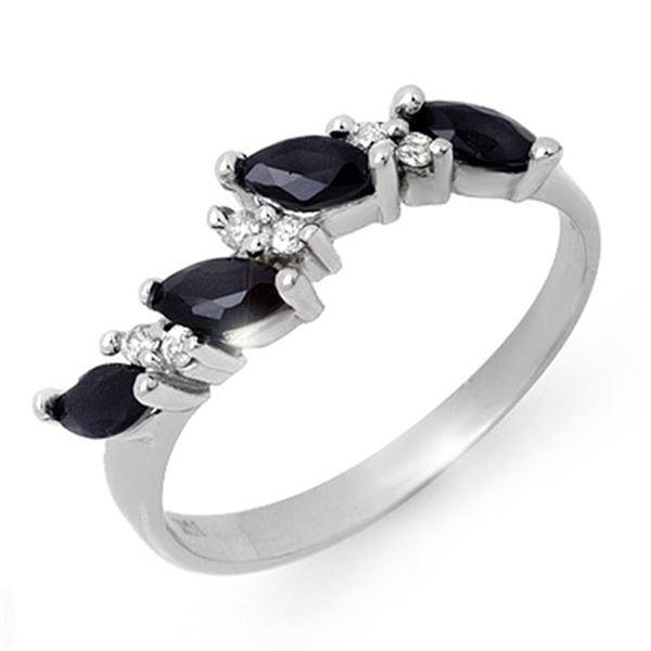 0.80 ctw Blue Sapphire & Diamond Ring 10k White Gold - REF-15H3R