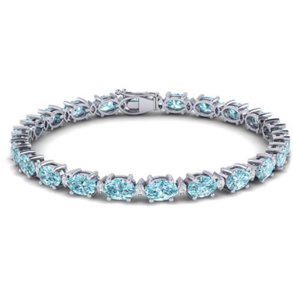 25.8 ctw Sky Blue Topaz & VS/SI Diamond Eternity Bracelet 10k White Gold - REF-118G4W