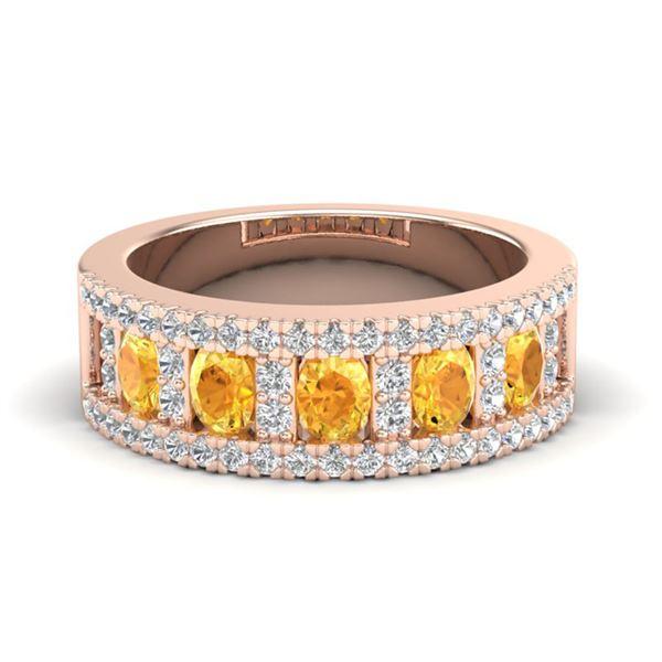 2 ctw Citrine & Micro VS/SI Diamond Ring 10k Rose Gold - REF-47R9K
