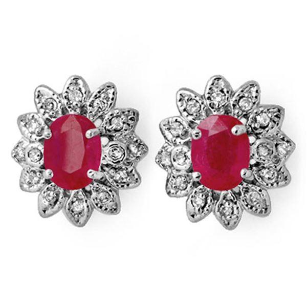 3.80 ctw Pink Sapphire & Diamond Earrings 14k White Gold - REF-90R9K