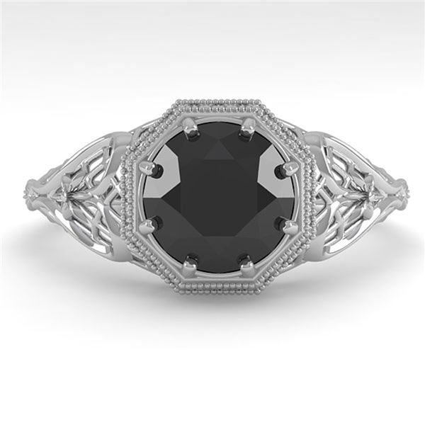 1.50 ctw Black Certified Diamond Engagment Ring Art Deco 18k White Gold - REF-52X3A