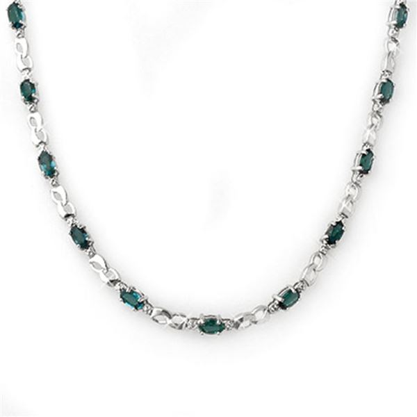 9.02 ctw Blue Sapphire & Diamond Necklace 10k White Gold - REF-78F2M