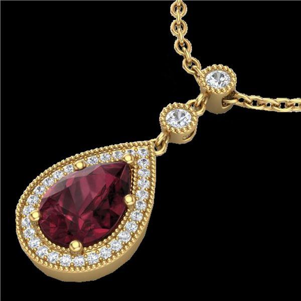 2.25 ctw Garnet & Micro VS/SI Diamond Necklace Designer 18k Yellow Gold - REF-38N2F