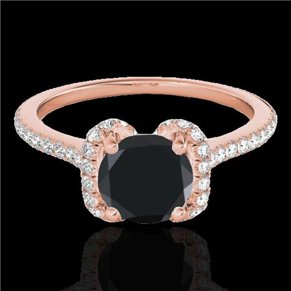 1.33 ctw Certified VS Black Diamond Solitaire Halo Ring 10k Rose Gold - REF-43F2M