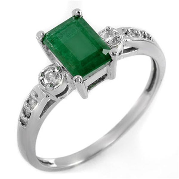 1.45 ctw Emerald & Diamond Ring 18k White Gold - REF-31H4R