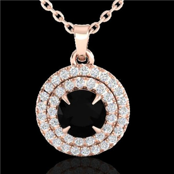 1 ctw Micro Pave VS/SI Diamond Certified NECKALCE Halo 14k Rose Gold - REF-45G3W