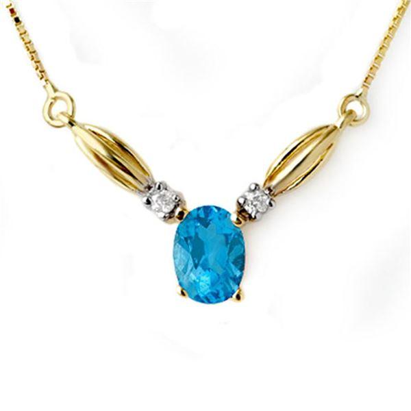 1.30 ctw Blue Topaz & Diamond Necklace 10k Yellow Gold - REF-14F3M