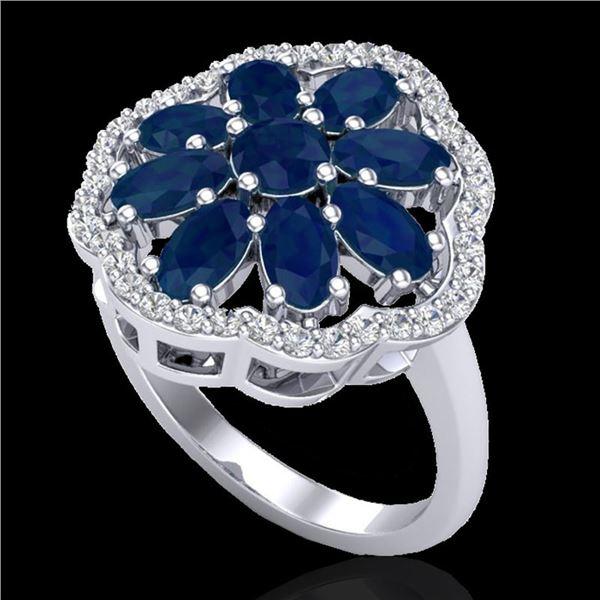 4 ctw Sapphire & VS/SI Diamond Cluster Designer Ring 10k White Gold - REF-49W3H