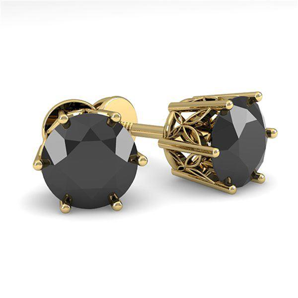 2.0 ctw Black Certified Diamond Stud Earrings 18k Yellow Gold - REF-73R5K