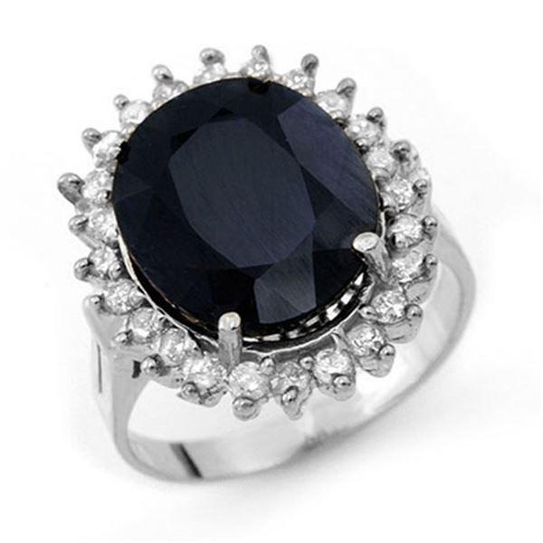 14.10 ctw Blue Sapphire & Diamond Ring 14k White Gold - REF-150Y9X