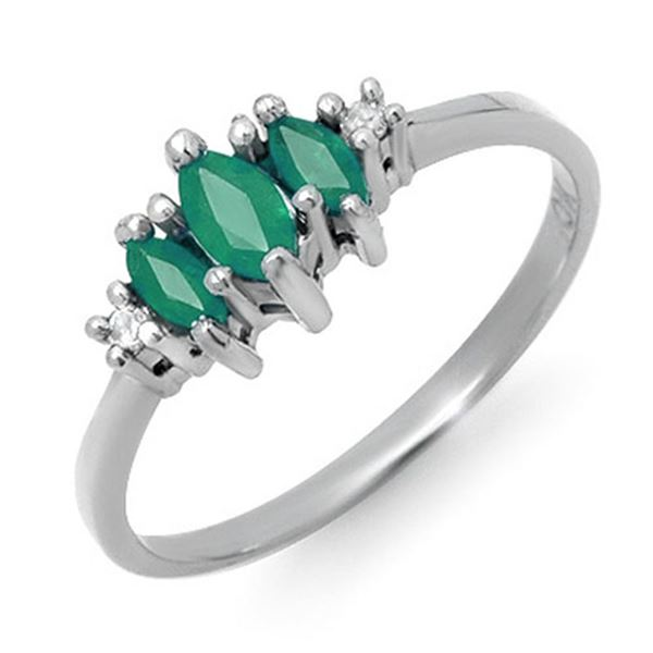 0.37 ctw Emerald & Diamond Ring 14k White Gold - REF-12K8Y