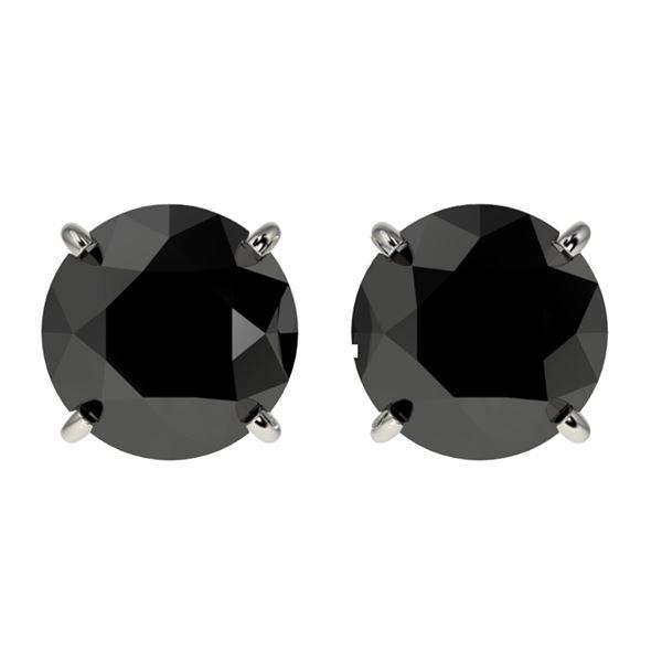 2.13 ctw Fancy Black Diamond Solitaire Stud Earrings 10k White Gold - REF-35W6H