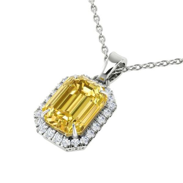 4.50 ctw Citrine & Micro Pave VS/SI Diamond Necklace 18k White Gold - REF-39G5W