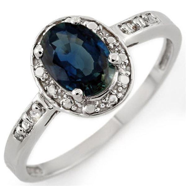 1.35 ctw Blue Sapphire & Diamond Ring 10k White Gold - REF-11A8N