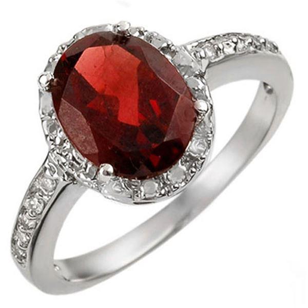 2.10 ctw Garnet & Diamond Ring 14k White Gold - REF-19H8R
