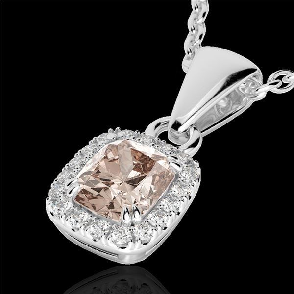 1.25 ctw Morganite & Micro Pave VS/SI Diamond Necklace 10k White Gold - REF-25R9K