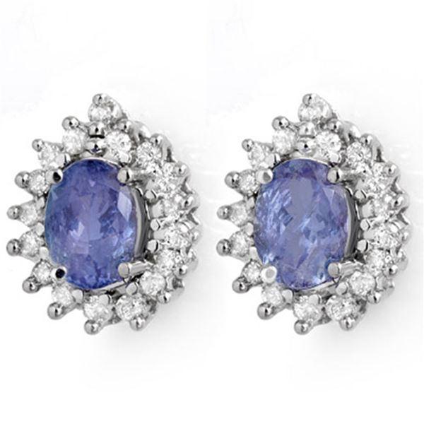 3.63 ctw Tanzanite & Diamond Earrings 14k White Gold - REF-98G5W