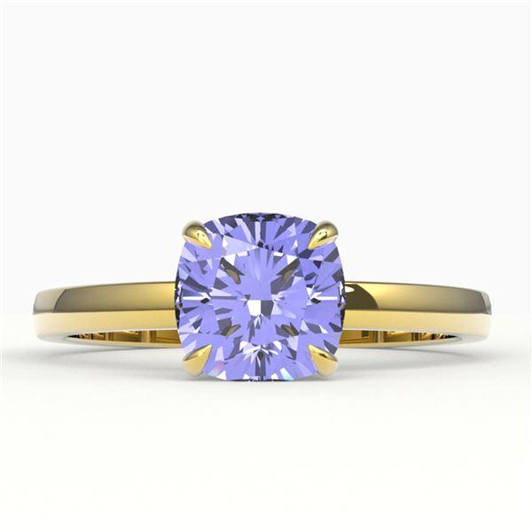 2 ctw Cushion Cut Tanzanite Designer Engagment Ring 18k Yellow Gold - REF-54F3M