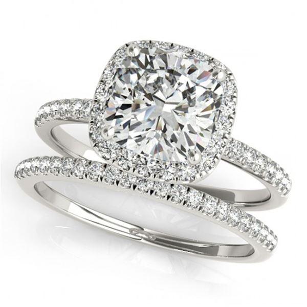 0.93 ctw Certified VS/SI Cushion Diamond 2pc Set Halo 14k White Gold - REF-107N2F