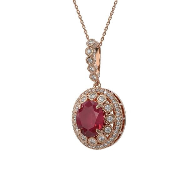 8.66 ctw Certified Ruby & Diamond Victorian Necklace 14K Rose Gold - REF-176F4M